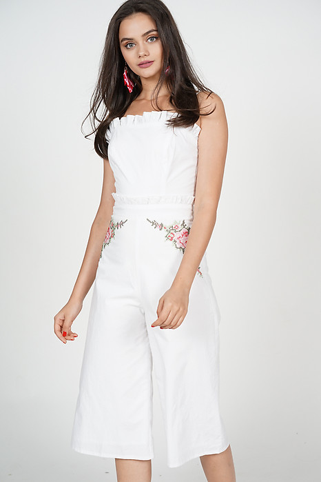 Embroidered Frilly Jumpsuit in White