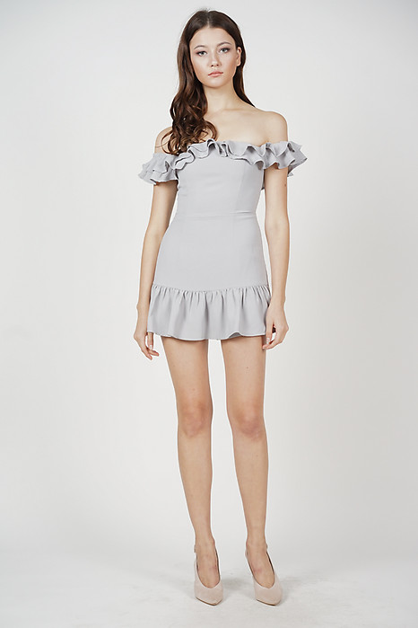 Steffie Ruffled Skorts Romper in Grey