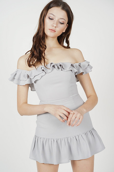 Steffie Ruffled Skorts Romper in Grey - Online Exclusive