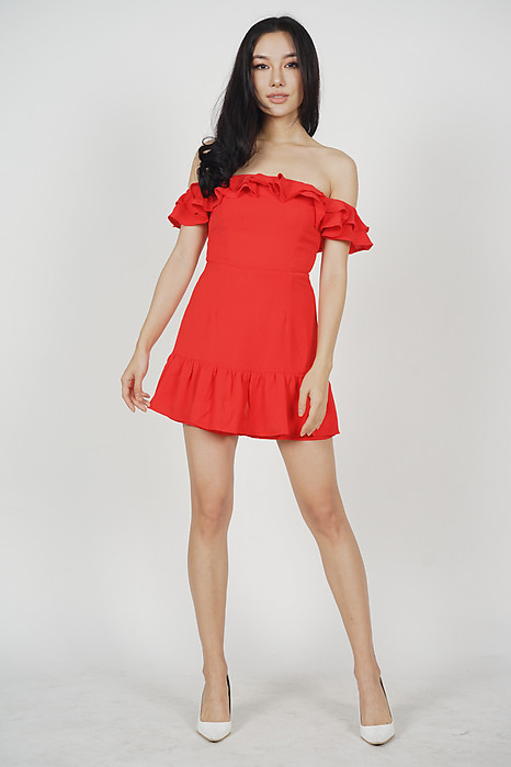 Steffie Ruffled Skorts Romper in Red