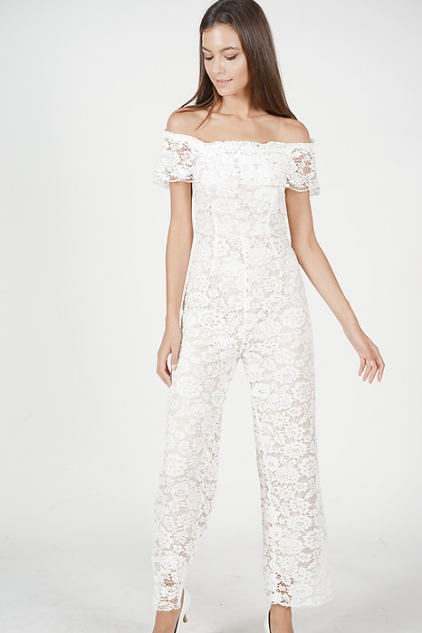 Off Shoulder Lace Jumpsuit in White