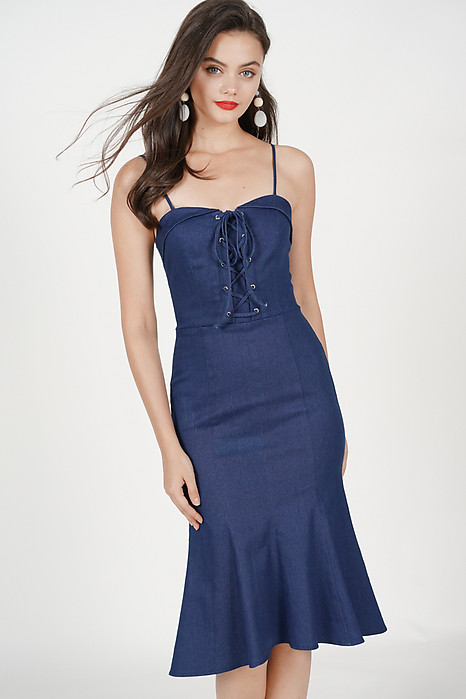 Lace-Up Ruffled Dress in Denim