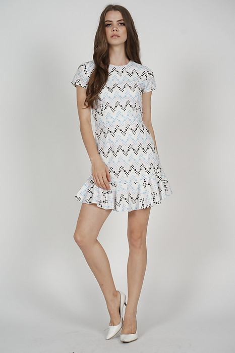 Alsta Ruffled-Hem Dress in Multi Eyelet - Arriving Soon