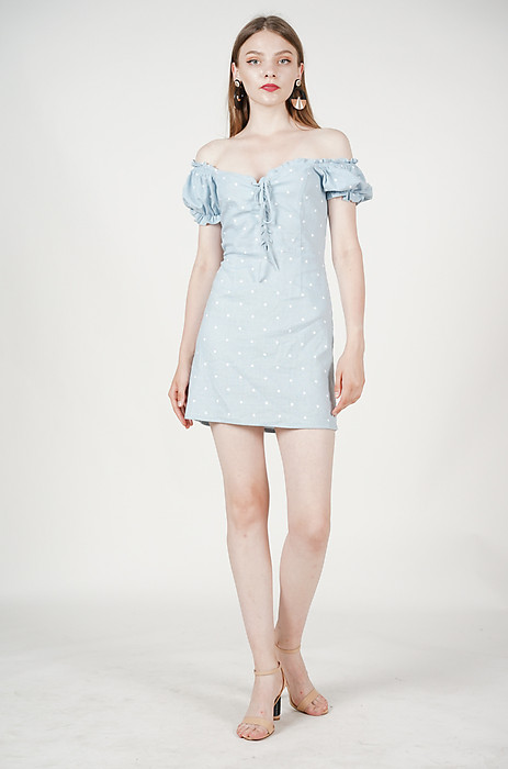 Gianna Lace-Up Dress in Ash Blue Polka - Arriving Soon