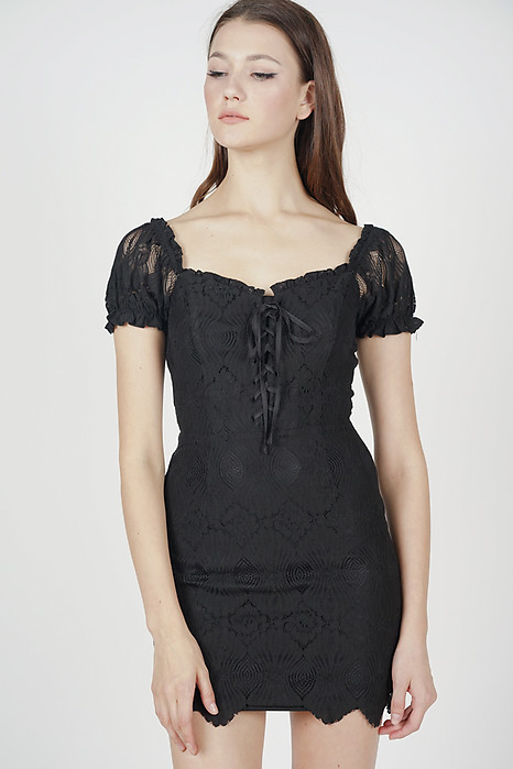 Kathryn Lace-Up Dress in Black - Arriving Soon