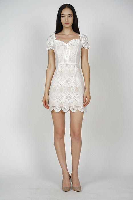 Kathryn Lace-Up Dress in White - Arriving Soon