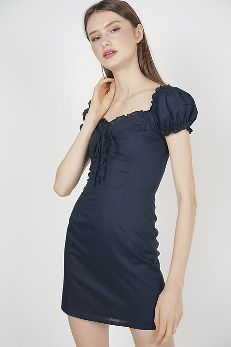 Gianna Lace-Up Dress in Midnight - Arriving Soon