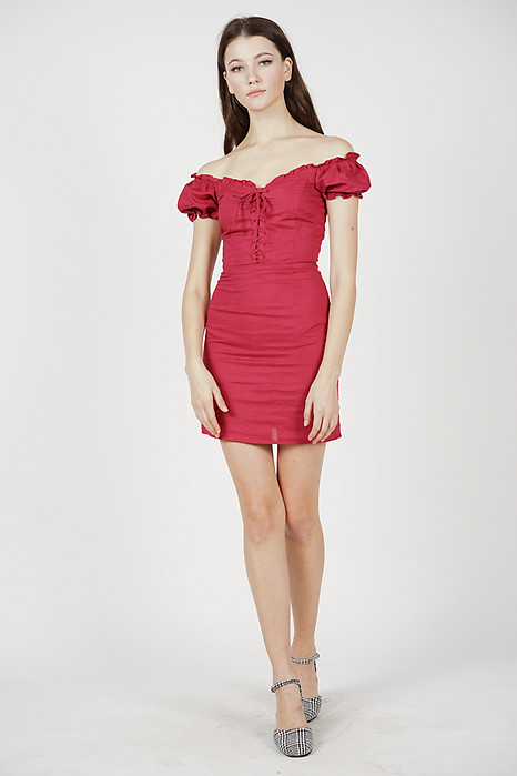 Gianna Lace-Up Dress in Red