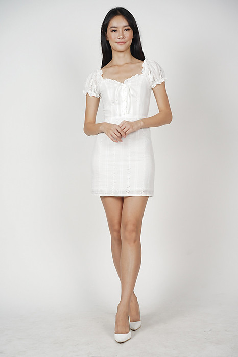 Gianna Lace-Up Dress in White - Arriving Soon