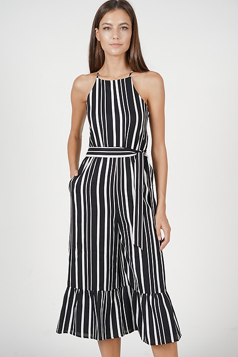 bd7bb8f61a27 Halter Ruffled-Hem Jumpsuit in Black Stripes