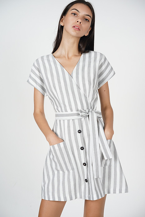 Baillie Buttoned Dress in Grey Stripes