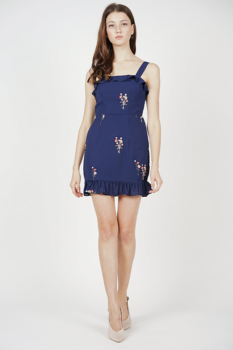 Davina Ruffled Dress in Midnight Floral - Arriving Soon