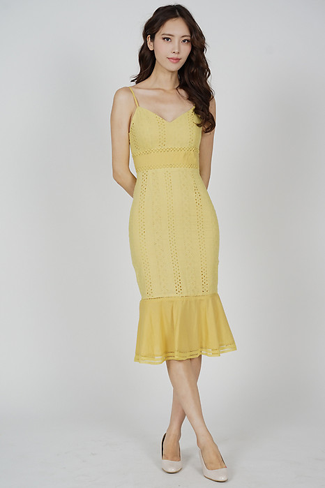 Arwen Ruffled-Hem Dress in Mustard