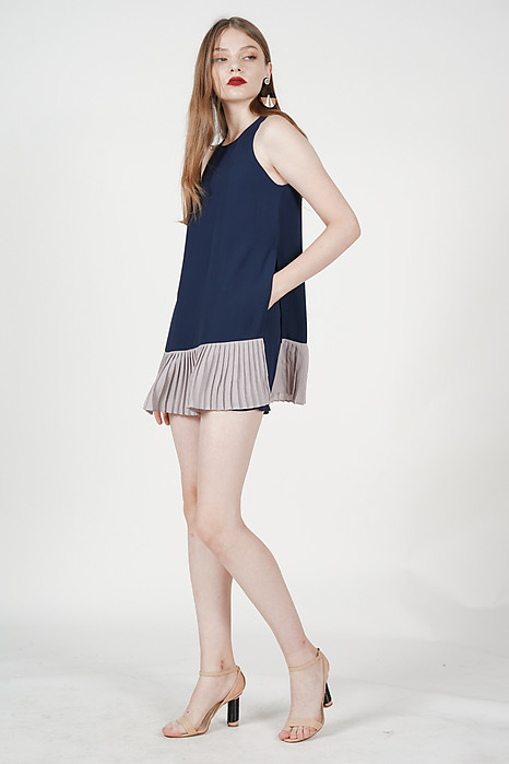 Color-Block Pleated Skorts Romper in Navy