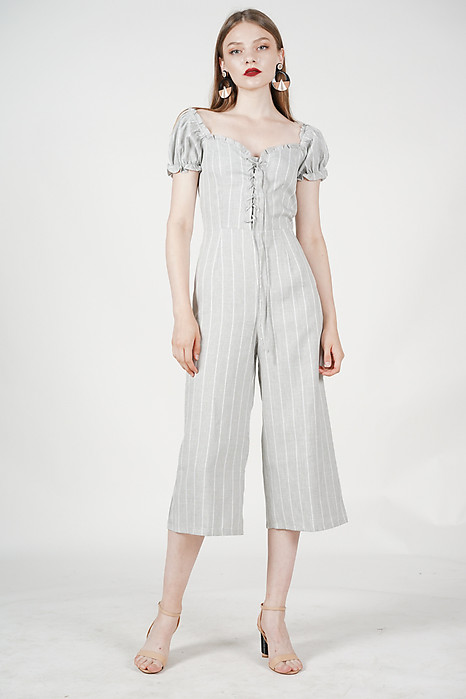 Kalila Puffy Jumpsuit in Light Grey Stripes