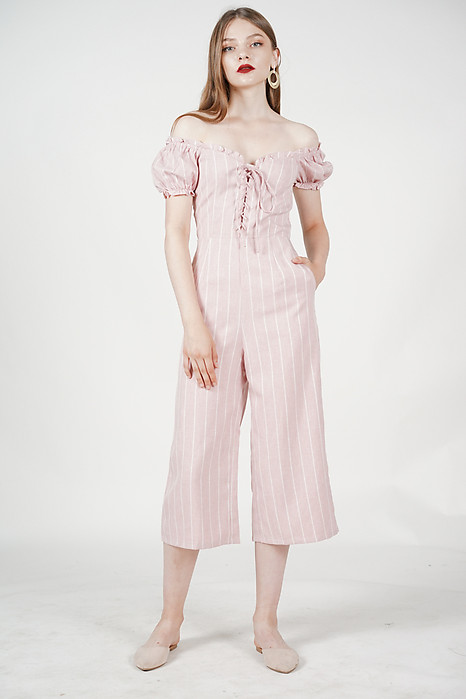 Kalila Puffy Jumpsuit in Pink Stripes