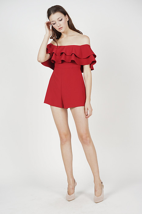 Keylia Ruffled Romper in Red