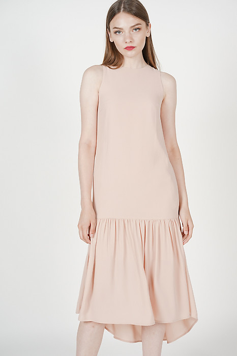 Mathilda Ruffled Dress in Nude