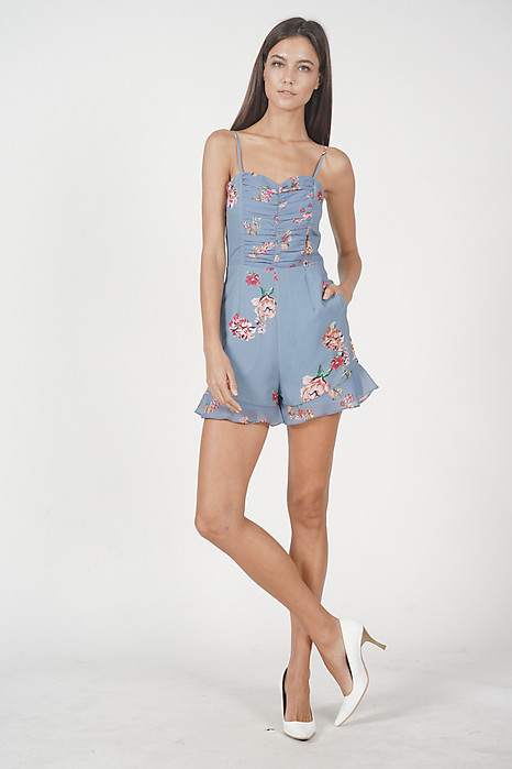 Weinley Ruffled Romper in Blue Floral
