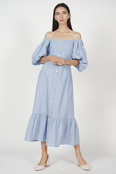 Ourania Puff Dress in Blue Stripes