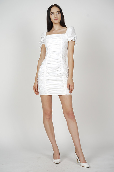 Whitney Ruched Dress in White - Arriving Soon
