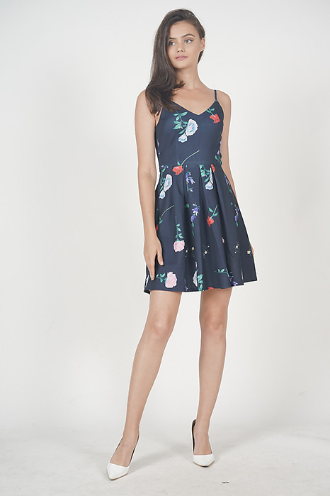 Diantha Flared Dress in Navy Floral