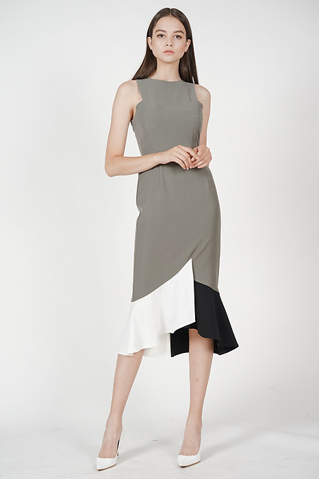 Cutout Color-Block Mermaid Dress in Olive