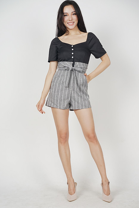 Marcella Buttoned Romper in Black Stripes
