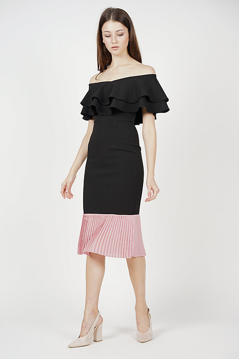 Pleated-Hem Mermaid Dress in Black - Arriving Soon