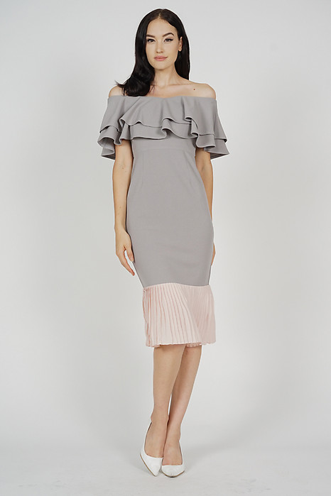 Pleated-Hem Mermaid Dress in Grey - Arriving Soon