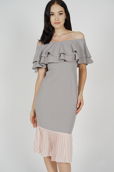 Pleated-Hem Mermaid Dress in Grey