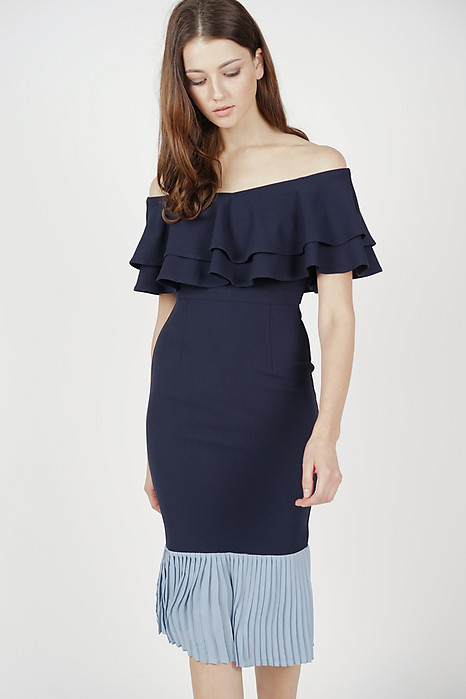Pleated-Hem Mermaid Dress in Midnight - Arriving Soon