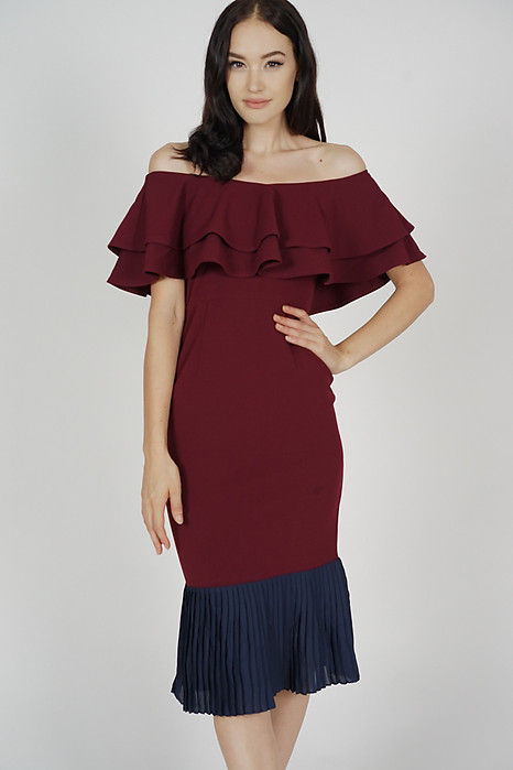 Pleated-Hem Mermaid Dress in Oxblood - Arriving Soon