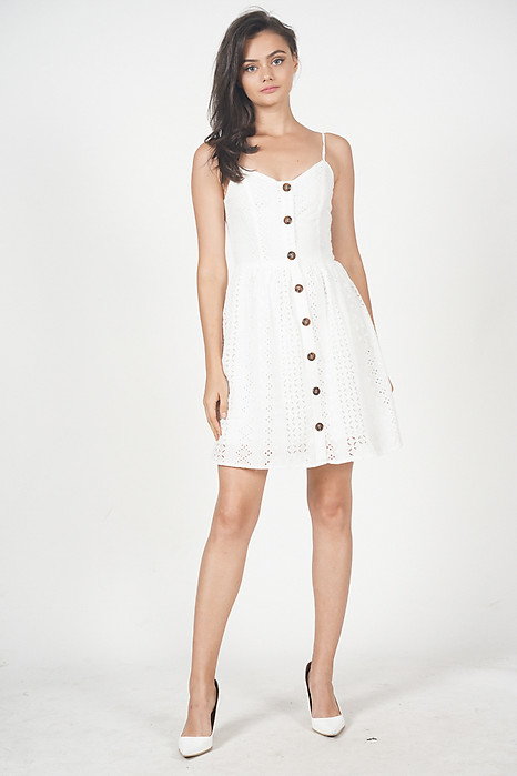 Alphys Buttoned Dress in White