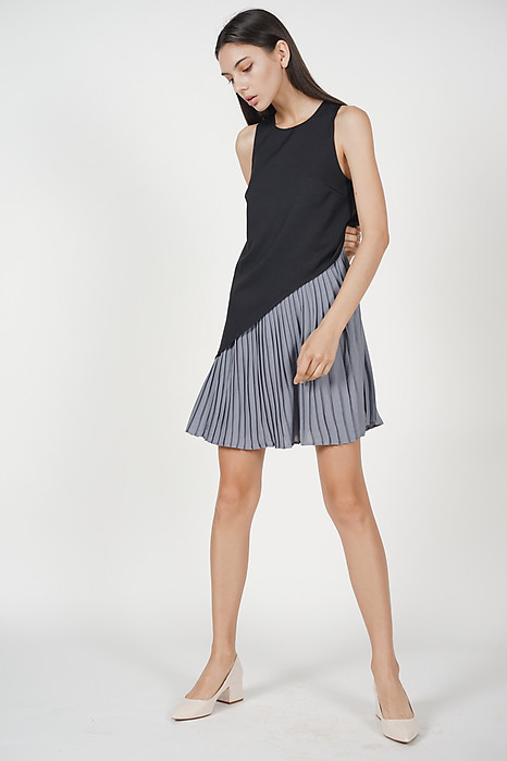 Marcy Pleated Dress in Black - Arriving Soon