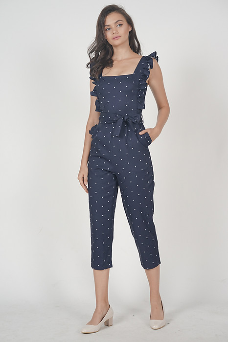 Klytie Frilled Jumpsuit in Navy Polka Dots - Arriving Soon