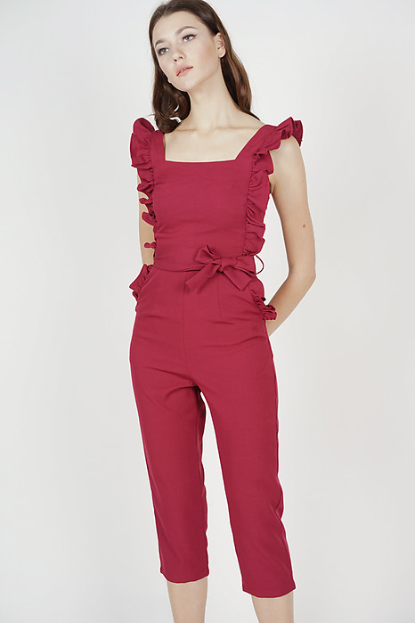 Klytie Frilled Jumpsuit in Oxblood - Arriving Soon