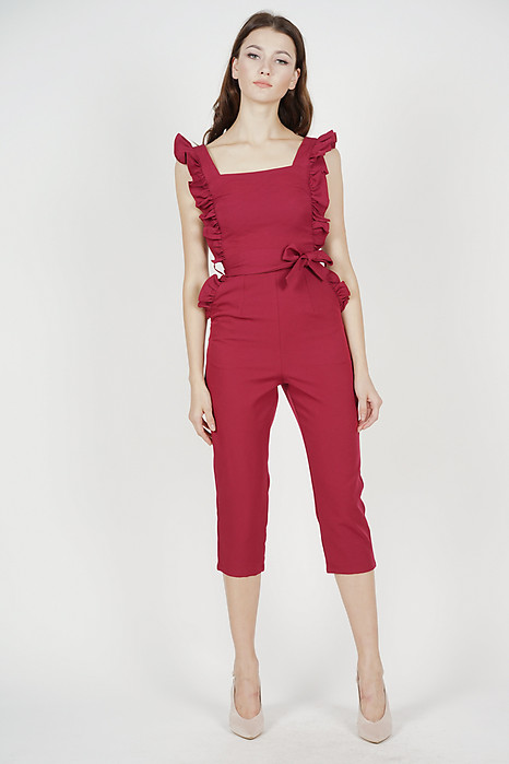 Klytie Frilled Jumpsuit in Oxblood