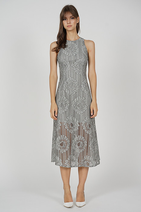 Riefa Lace Dress in Grey - Arriving Soon
