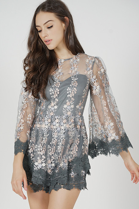 Alyxa Lace Romper in Dark Grey
