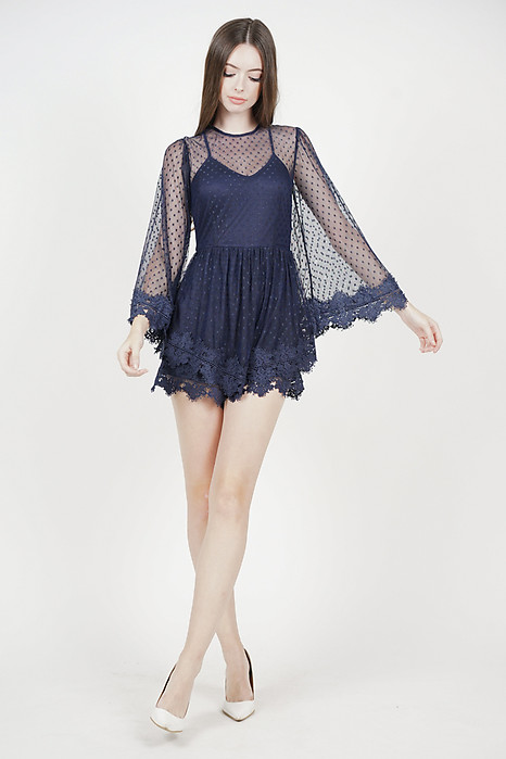 Alyxa Lace Romper in Midnight - Arriving Soon