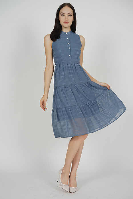 Fabiola Tiered Dress in Blue