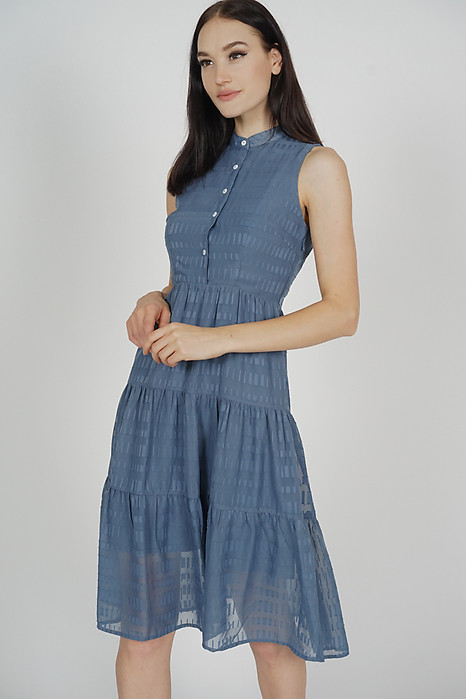 Fabiola Tiered Dress in Blue - Arriving Soon
