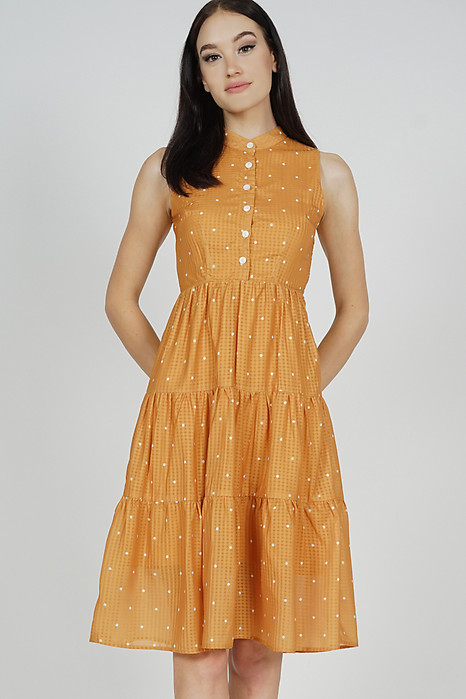 Fabiola Tiered Dress in Mustard Polka Dots