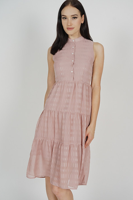 Fabiola Tiered Dress in Pink