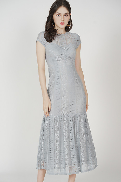 Agatha Lace Dress in Ash Blue - Arriving Soon