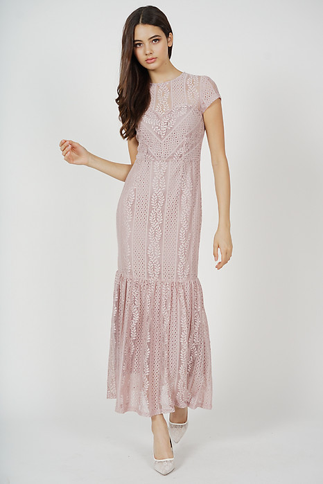 Agatha Lace Dress in Blush