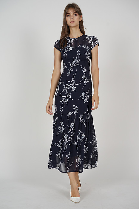 Evanora Ruffled-Hem Dress in Midnight Floral - Arriving Soon