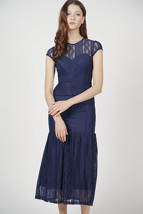 Agatha Lace Dress in Midnight