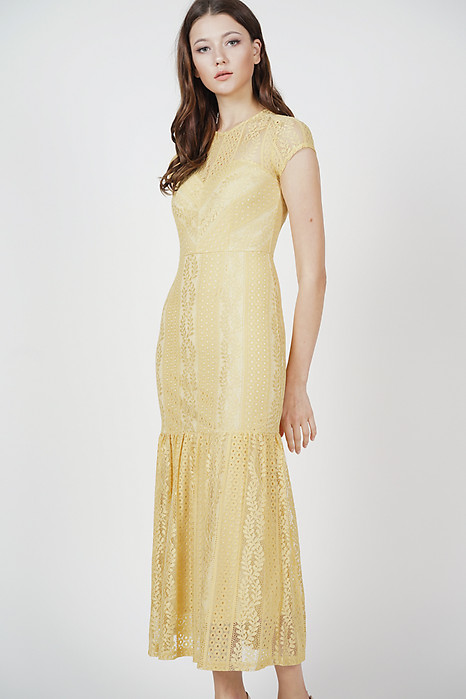Agatha Lace Dress in Mustard